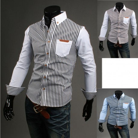 siyah ve beyaz şerit erkek gömlekleri
