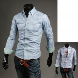 tartan check blue shirt