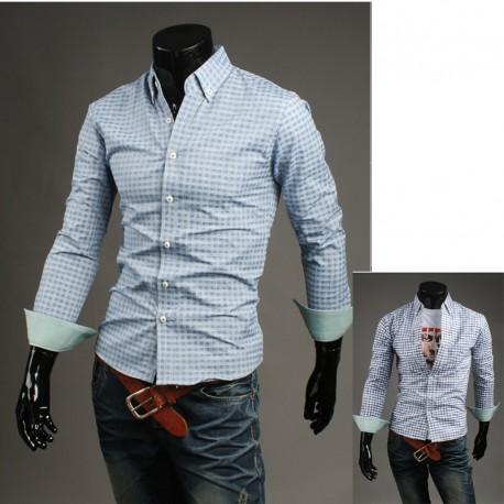 tartan check blå skjorta