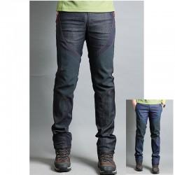 pánske turistické nohavice denim zmiešané pevné nohavice