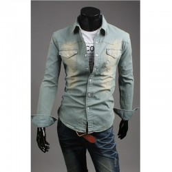 φως πλύση τζιν πουκάμισα ανδρών