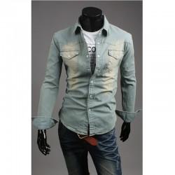 Svetlo umyť džínsové košele pánske