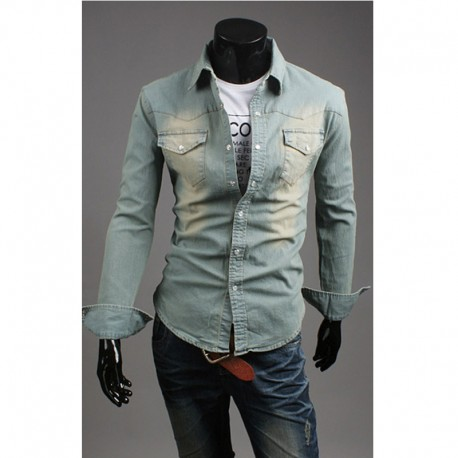 bf8ac8eca129 Svetlo umyť džínsové košele pánske
