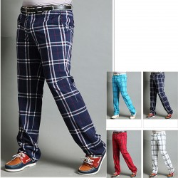 men's plaid check golf pants classic tartan check