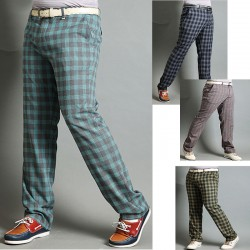 kişi plaid check golf şalvar yaxası