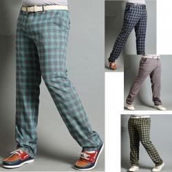 мъжки проверка карирана проверка голф панталони памучна