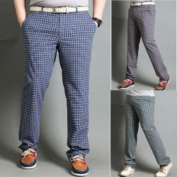 мужской гольф проверка брюки ломаную
