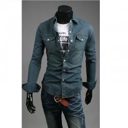 mörk tvätt denim skjortor män