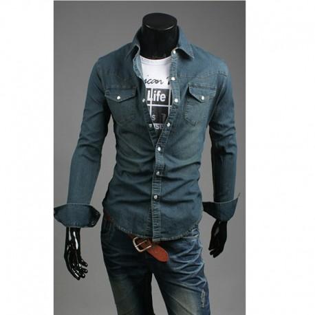 Karanlık yıkama denim gömlek erkek