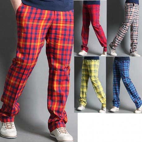 pánské golfové kalhoty pléd oranžová modrá žlutá šek