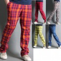men's golf pants plaid orange blue yellow check
