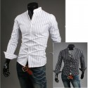 mandarin collar shirts stripe