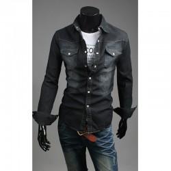 siyah yıkama denim gömlek erkek