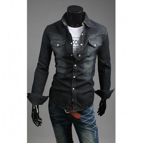μαύρο πλύση τζιν πουκάμισα ανδρών