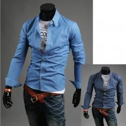суров деним риза за мъже