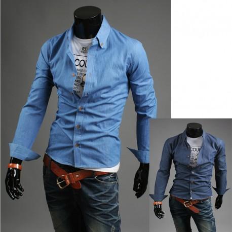 rå denim skjorte for menn