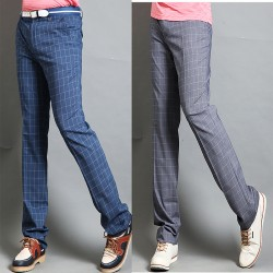 men's golf pants plaid check blue