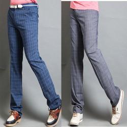 pantalons de golf chèque plaid de bleu des hommes