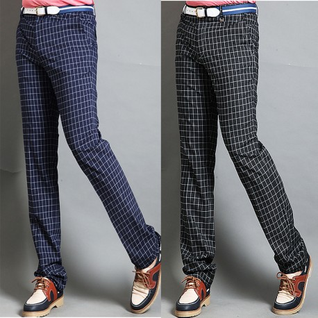 men's golf pants plaid check navy