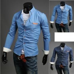 denim råa pocket tröjor