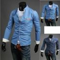 džinsinio žaliavų pocket marškiniai