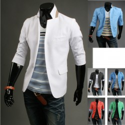 men's blazer mid sleeve blazer blue inner stripe