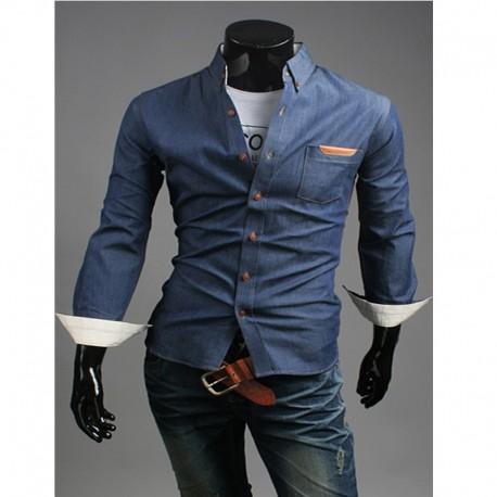 denim rå pocket skjorter