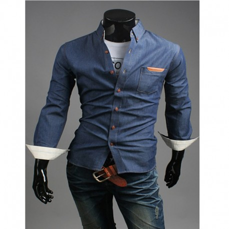 денима сырые карманные рубашки