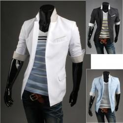 pánské sako poloviny rukávu sako modré vnitřní proužek