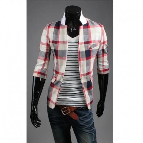 men's blazer mid sleeve tartan check
