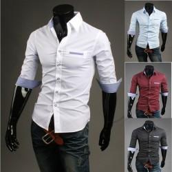 milieu des chemises à manches pour hommes vérifier poche lèvre