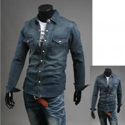 Niebieski Premium denim koszule męskie