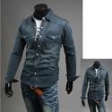 blue džinsinio PREMIUM vyriški marškiniai