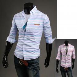erkekler orta kollu gömlek Düzensiz şerit