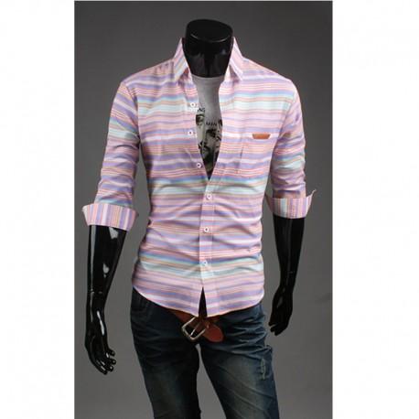 чоловічі середині рукав сорочки Нерегулярні смугою