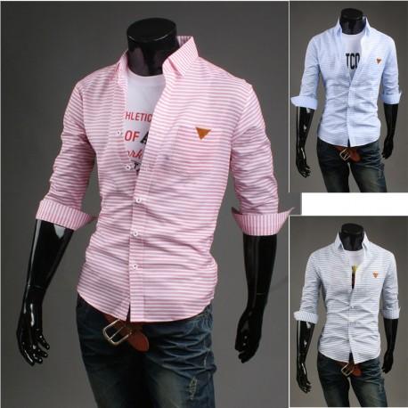 men's mid sleeve shirts triangle tag pocket