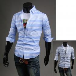 manches mi chemises pour hommes blancs multiples à bande