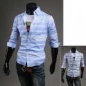 Herren-Mitte Hülsenhemden weiß Multi Streifen