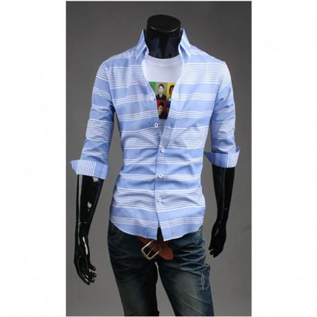 чоловічі середині рукав сорочки білий мульти смуга