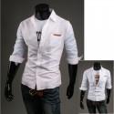 men's mid sleeve shirts unbalance sleeve