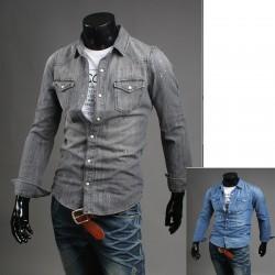 vopsea se spală din denim pentru bărbați cămașă