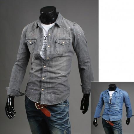 χρώμα πλύση τζιν πουκάμισο των ανδρών