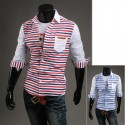 men's mid sleeve shirts double line stripe