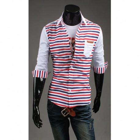 mid koszule męskie polo podwójna linia pasków