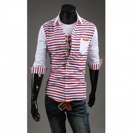 vyriški vidurio rankovėmis marškinėliai dviguba linija juostelių