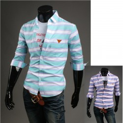 men's mid sleeve shirts wide multi stripe