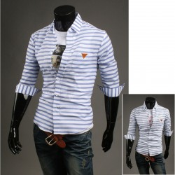men's mid sleeve shirts blue stripe pocket