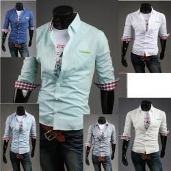 мужские середине рукав рубашки зеленый кожаный карман