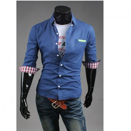 manches mi chemises pour hommes de poche en cuir vert