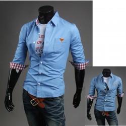 erkekler orta kollu gömlek unwash denim